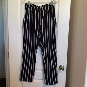 Black and white loose fit striped pants